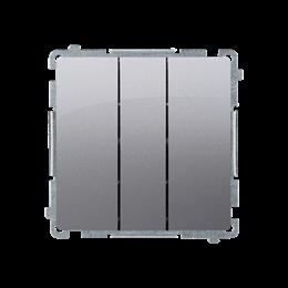 Łacznik potrójny z podświetleniem LED nie wymienialny kolor: niebieski (moduł) 10AX 250V, szybkozłącza, inox, metalizowany-25345