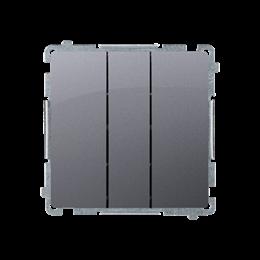 Przycisk potrójny z podświetleniem LED nie wymienialny kolor: niebieski (moduł) 10AX 250V, szybkozłącza, srebrny mat, metalizowa