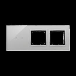 Panel dotykowy 3 moduły 2 pola dotykowe poziome, otwór na osprzęt Simon 54, otwór na osprzęt Simon 54, srebrna mgła-251935