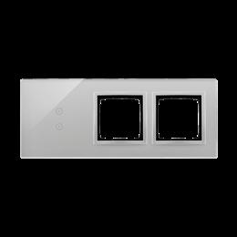 Panel dotykowy 3 moduły 2 pola dotykowe pionowe, otwór na osprzęt Simon 54, otwór na osprzęt Simon 54, srebrna mgła-251940