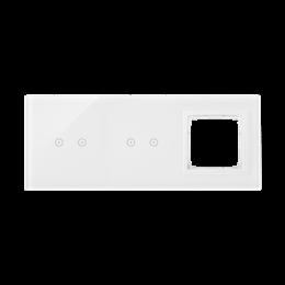 Panel dotykowy 3 moduły 2 pola dotykowe poziome, 2 pola dotykowe poziome, otwór na osprzęt Simon 54, biała perła-251892