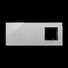 Panel dotykowy 3 moduły 2 pola dotykowe poziome, 2 pola dotykowe poziome, otwór na osprzęt Simon 54, srebrna mgła-251893