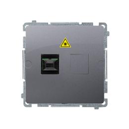 Gniazdo światłowodowe / optyczne podwójne srebrny mat, metalizowany-254062