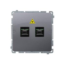 Gniazdo światłowodowe / optyczne podwójne srebrny mat, metalizowany-254069