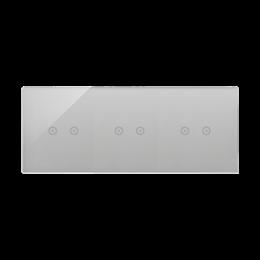 Panel dotykowy 3 moduły 2 pola dotykowe poziome, 2 pola dotykowe poziome, 2 pola dotykowe poziome, srebrna mgła-251780