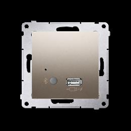 Odbiornik Bluetooth z ładowarką USB złoty mat, metalizowany-252785