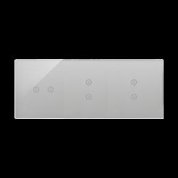 Panel dotykowy 3 moduły 2 pola dotykowe poziome, 2 pola dotykowe pionowe, 2 pola dotykowe pionowe, srebrna mgła-251813