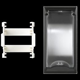 Płytka z pokrywą SIMON 500 do aparatury 2-polowej 100×50mm szary grafit-256576