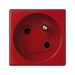 Gniazdo wtyczkowe pojedyncze K45 DATA z bolcem uziemiającym 16A 250V zaciski śrubowe 45×45mm czerwony-256313
