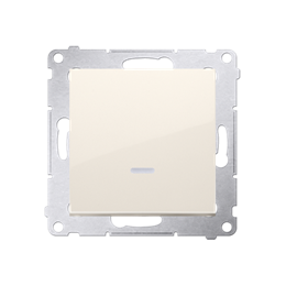 Łącznik schodowy z podświetleniem LED bez piktogramu (moduł) 10AX 250V, szybkozłącza, kremowy-252105