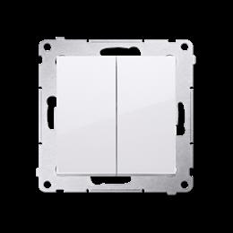 Łącznik schodowy podwójny z podświetleniem LED bez piktogramu (moduł) 10AX 250V, zaciski śrubowe, biały-252304