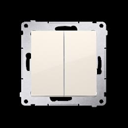 Łącznik schodowy podwójny z podświetleniem LED bez piktogramu (moduł) 10AX 250V, zaciski śrubowe, kremowy-252305