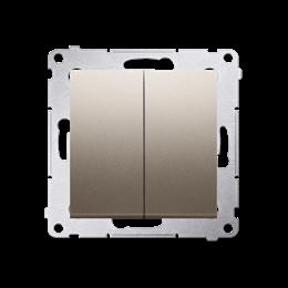 Łącznik schodowy podwójny z podświetleniem LED bez piktogramu (moduł) 10AX 250V, zaciski śrubowe, złoty mat, metalizowany-252307