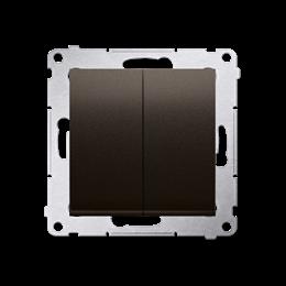 Łącznik schodowy podwójny z podświetleniem LED bez piktogramu (moduł) 10AX 250V, zaciski śrubowe, brąz mat, metalizowany-252308
