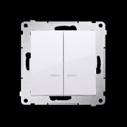 Łącznik krzyżowy podwójny z podświetleniem LED bez piktogramu (moduł) 10AX 250V, szybkozłącza, biały-252334