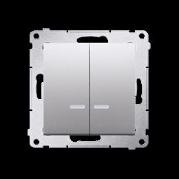 Łącznik krzyżowy podwójny z podświetleniem LED bez piktogramu (moduł) 10AX 250V, szybkozłącza, srebrny mat, metalizowany-252336