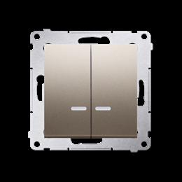 Łącznik krzyżowy podwójny z podświetleniem LED bez piktogramu (moduł) 10AX 250V, szybkozłącza, złoty mat, metalizowany-252337