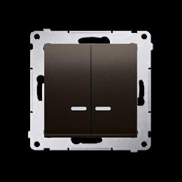 Łącznik krzyżowy podwójny z podświetleniem LED bez piktogramu (moduł) 10AX 250V, szybkozłącza, brąz mat, metalizowany-252338