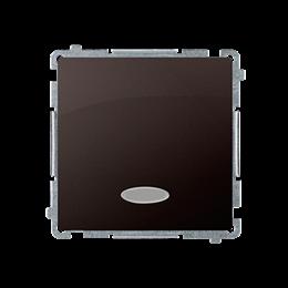 Łącznik schodowy z podświetleniem bez piktogramu LED nie wymienialny kolor: niebieski (moduł) 10AX 250V, szybkozłącza, czekolado