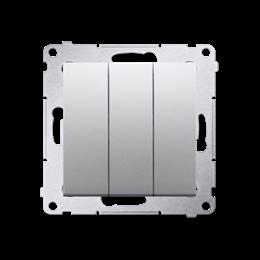 Łacznik potrójny z podświetleniem (moduł) 10AX 250V, szybkozłącza, srebrny mat, metalizowany-252227