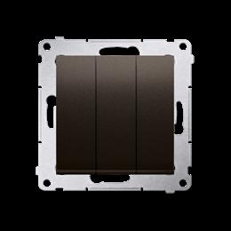Łacznik potrójny z podświetleniem (moduł) 10AX 250V, szybkozłącza, brąz mat, metalizowany-252229