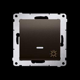 """Przycisk """"światło"""" z podświetleniem LED (moduł) 16AX 250V, zaciski śrubowe, brąz mat, metalizowany-252240"""