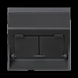 Plakietka teleinformatyczna SIMON 500 do adapterów MD podwójna skośna z osłonami 50×50mm szary grafit-256462
