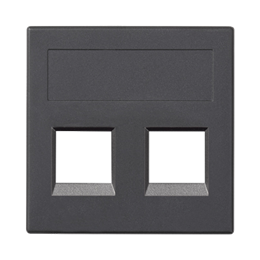 Plakietka teleinformatyczna SIMON 500 keystone podwójna bez osłon płaska uniwersalna 50×50mm szary grafit-256396