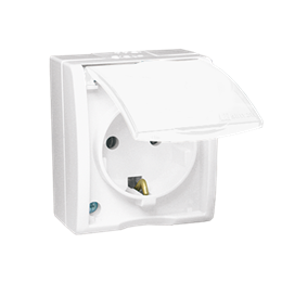 Gniazdo wtyczkowe pojedyncze z uziemieniem typu Schuko - w wersji IP54 -  klapka w kolorze białym biały 16A-255745