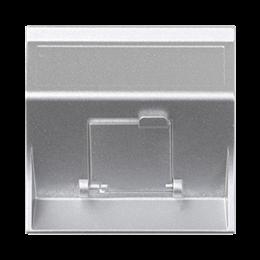 Plakietka teleinformatyczna SIMON 500 do adapterów MD pojedyncza skośna z osłoną 50×50mm aluminium-256436