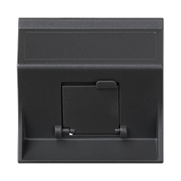 Plakietka teleinformatyczna SIMON 500 do adapterów MD pojedyncza skośna z osłoną 50×50mm szary grafit-256437