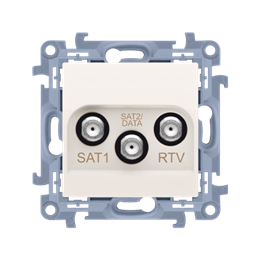 Gniazdo antenowe SAT-SAT-RTV satelitarne podwójne tłum.:1dB kremowy-254483