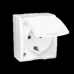 Gniazdo wtyczkowe pojedyncze z uziemieniem typu Schuko z przesłonami torów prądowych - w wersji IP54 -  klapka w kolorze białym