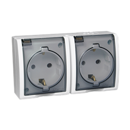 Gniazdo wtyczkowe podwójne z uziemieniem typu Schuko - w wersji IP54 - klapka w kolorze transparentnym biały 16A-255751