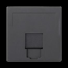Plakietka teleinformatyczna SIMON 500 keystone pojedyncza płaska uniwersalna z osłoną 50×50mm szary grafit-256387