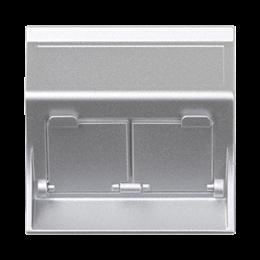 Plakietka teleinformatyczna SIMON 500 do adapterów MD podwójna skośna z osłonami 50×50mm aluminium-256461