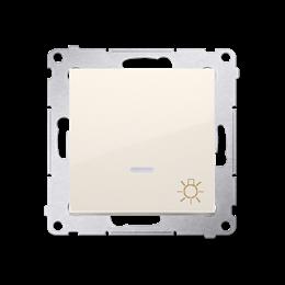 """Przycisk """"światło"""" z podświetleniem LED (moduł) 16AX 250V, zaciski śrubowe, kremowy-252209"""