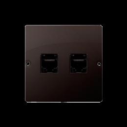 Gniazdo telefoniczne podwójne RJ11 (moduł) czekoladowy mat, metalizowany-254098