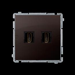 Gniazdo HDMI podwójne czekoladowy mat, metalizowany-254048