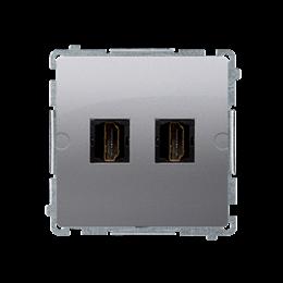 Gniazdo HDMI podwójne srebrny mat, metalizowany-254050