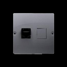 Gniazdo telefoniczne pojedyncze RJ12 (moduł) srebrny mat, metalizowany-254104