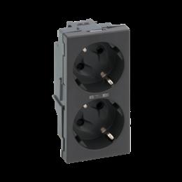 Gniazdo podwójne SIMON 500 SCHUKO z sygnalizacją napięcia 16A 250V szybkozłącza/zaciski śrubowe 100×50mm szary grafit-256303