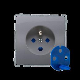 Gniazdo wtyczkowe pojedyncze DATA z kluczem uprawniającym srebrny mat, metalizowany 16A-253860