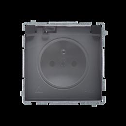 Gniazdo wtyczkowe pojedyncze w wersji IP44 z przesłonami torów prądowych -  klapka w kolorze transparentnym grafit mat, metalizo