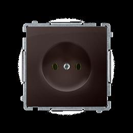 Gniazdo wtyczkowe podjedyncze bez uziemienia z przesłonami torów prądowych czekoladowy mat, metalizowany 16A-253830