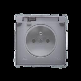 Gniazdo wtyczkowe pojedyncze w wersji IP44 -  klapka w kolorze transparentnym srebrny mat, metalizowany 16A-253842