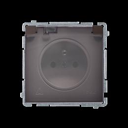 Gniazdo wtyczkowe pojedyncze w wersji IP44 -  klapka w kolorze transparentnym czekoladowy mat, metalizowany 16A-253843