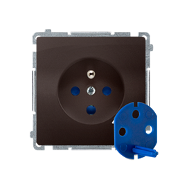 Gniazdo wtyczkowe pojedyncze DATA z kluczem uprawniającym czekoladowy mat, metalizowany 16A-253861