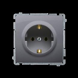Gniazdo wtyczkowe pojedyncze z uziemieniem typu Schuko srebrny mat, metalizowany 16A-253886