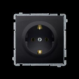 Gniazdo wtyczkowe pojedyncze z uziemieniem typu Schuko z przesłonami torów prądowych grafit mat, metalizowany 16A-253895